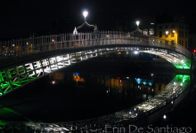 Ha'Penny Bridge at night in Dublin, Ireland