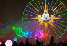 World of Color, with Mickey's Fun Wheel in the background, at Disney California Adventure