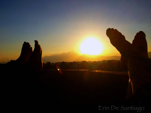 Sun setting behind a volcano in Guatemala City, Guatemala