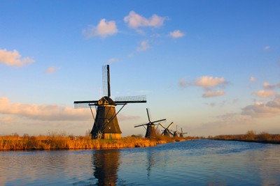 Netherlands' iconic windmills in the UNESCO World Heritage Site of Kinderdijk.