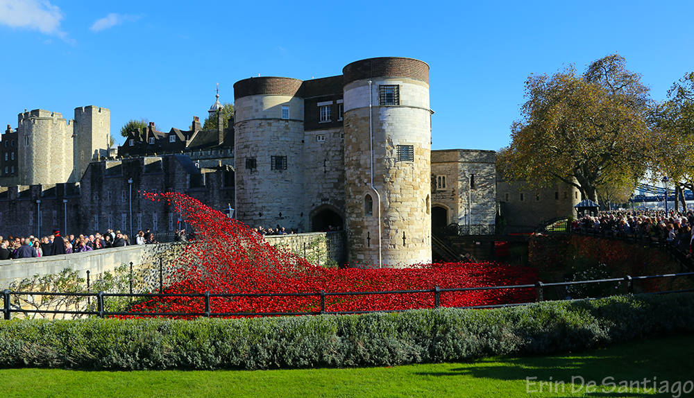 Another side of the tower with a spray of ceramic poppies.