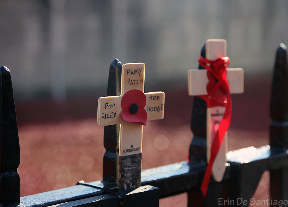 Crosses affixed to the fence posts surrounding the Tower of London.